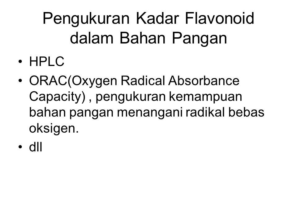 Pengukuran Kadar Flavonoid dalam Bahan Pangan HPLC ORAC(Oxygen Radical Absorbance Capacity), pengukuran kemampuan bahan pangan menangani radikal bebas