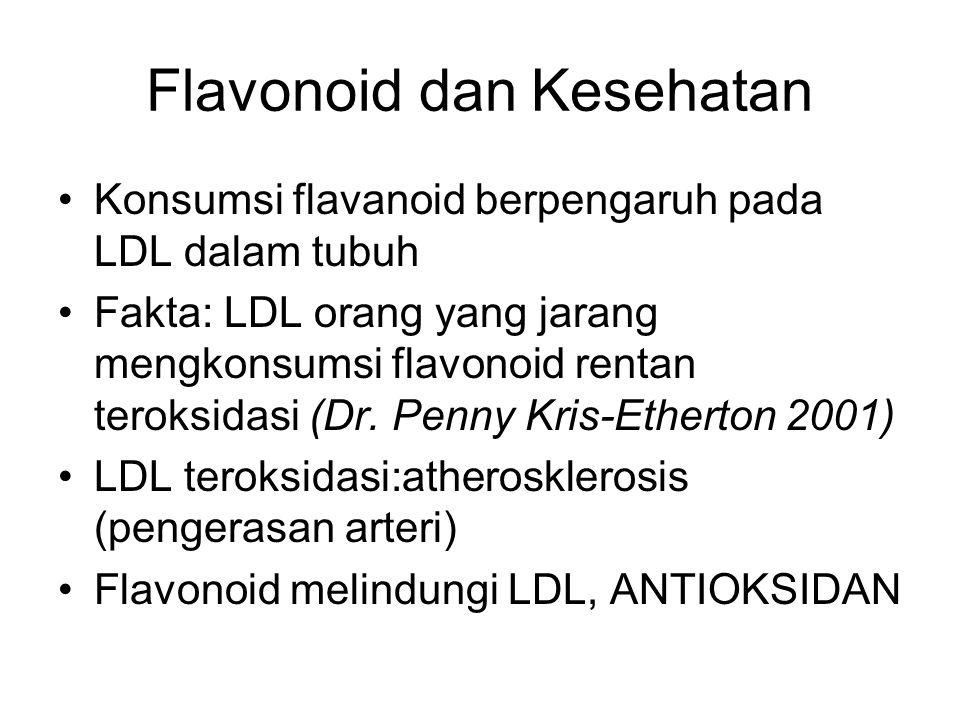 Flavonoid dan Kesehatan Konsumsi flavanoid berpengaruh pada LDL dalam tubuh Fakta: LDL orang yang jarang mengkonsumsi flavonoid rentan teroksidasi (Dr