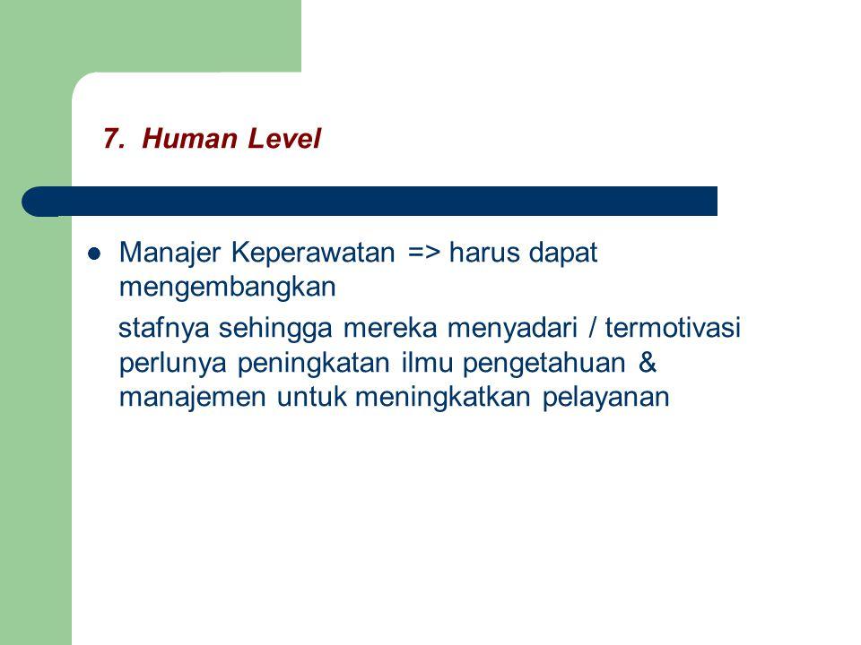7. Human Level Manajer Keperawatan => harus dapat mengembangkan stafnya sehingga mereka menyadari / termotivasi perlunya peningkatan ilmu pengetahuan