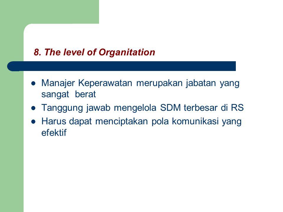 8. The level of Organitation Manajer Keperawatan merupakan jabatan yang sangat berat Tanggung jawab mengelola SDM terbesar di RS Harus dapat menciptak