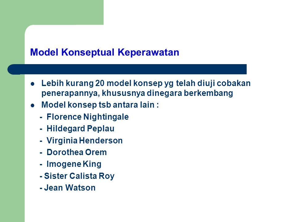 Model Konseptual Keperawatan Lebih kurang 20 model konsep yg telah diuji cobakan penerapannya, khususnya dinegara berkembang Model konsep tsb antara l