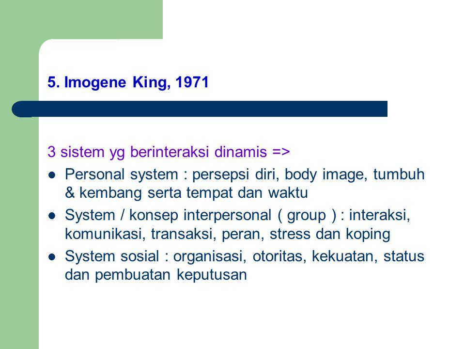 5. Imogene King, 1971 3 sistem yg berinteraksi dinamis => Personal system : persepsi diri, body image, tumbuh & kembang serta tempat dan waktu System