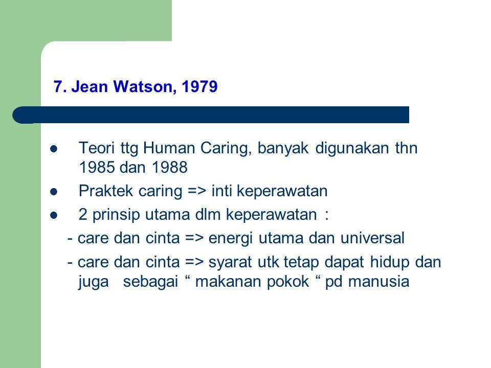 7. Jean Watson, 1979 Teori ttg Human Caring, banyak digunakan thn 1985 dan 1988 Praktek caring => inti keperawatan 2 prinsip utama dlm keperawatan : -