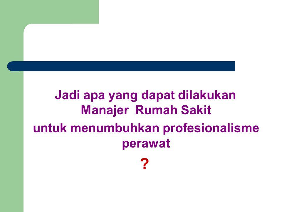 Jadi apa yang dapat dilakukan Manajer Rumah Sakit untuk menumbuhkan profesionalisme perawat ?