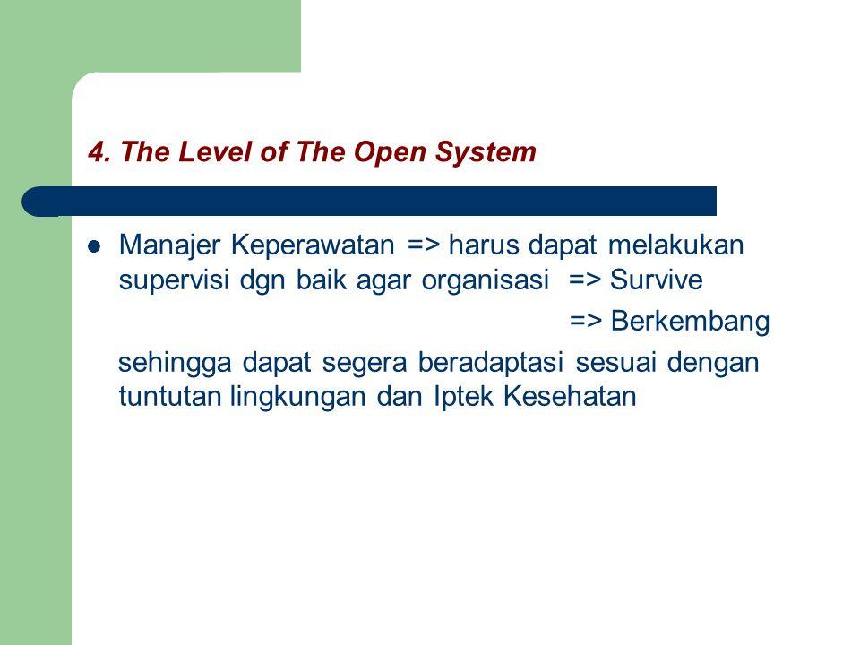 4. The Level of The Open System Manajer Keperawatan => harus dapat melakukan supervisi dgn baik agar organisasi => Survive => Berkembang sehingga dapa