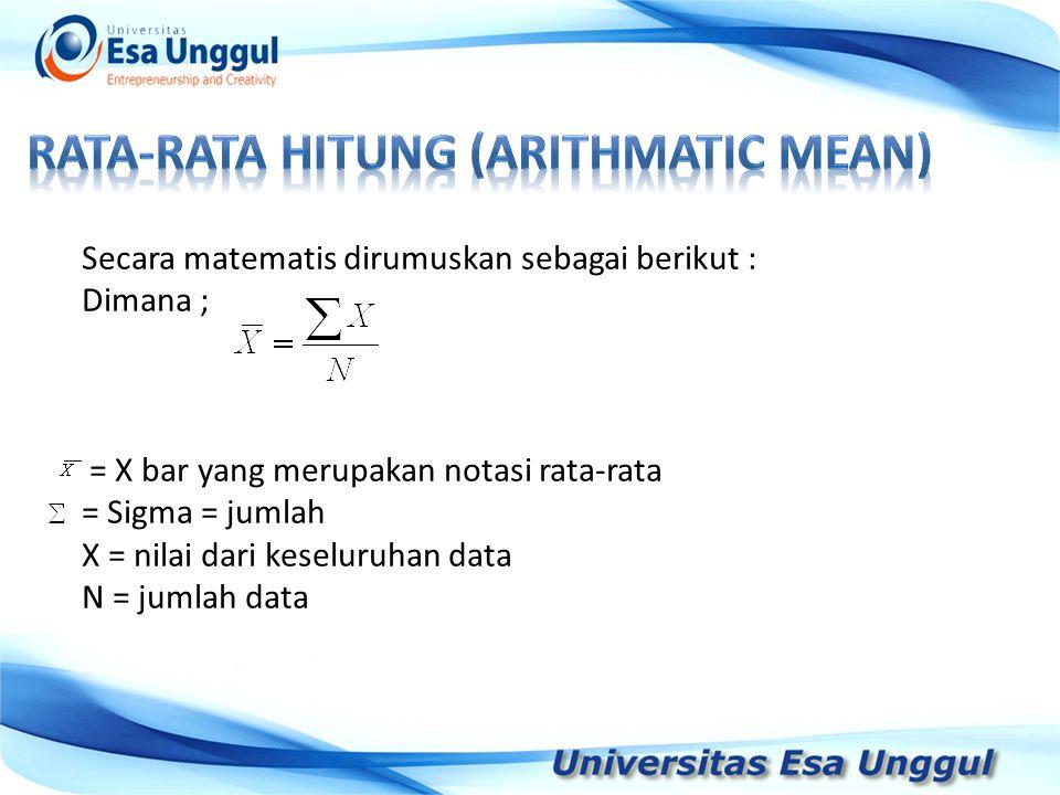 Tahun Pendapatan Nasional (milyar Rupiah) 1990 1991 1992 1993 1994 1995 1996 1997 590,6 612,7 630,8 645 667,9 702,3 801,3 815,7 Secara matematis dirumuskan sebagai berikut : Dimana ; = X bar yang merupakan notasi rata-rata = Sigma = jumlah X = nilai dari keseluruhan data N = jumlah data