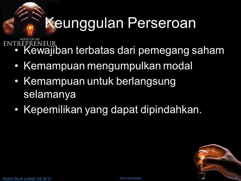 Retno Budi Lestari,SE,M.Si Kewirausahaan9 Keunggulan Perseroan Kewajiban terbatas dari pemegang saham Kemampuan mengumpulkan modal Kemampuan untuk ber