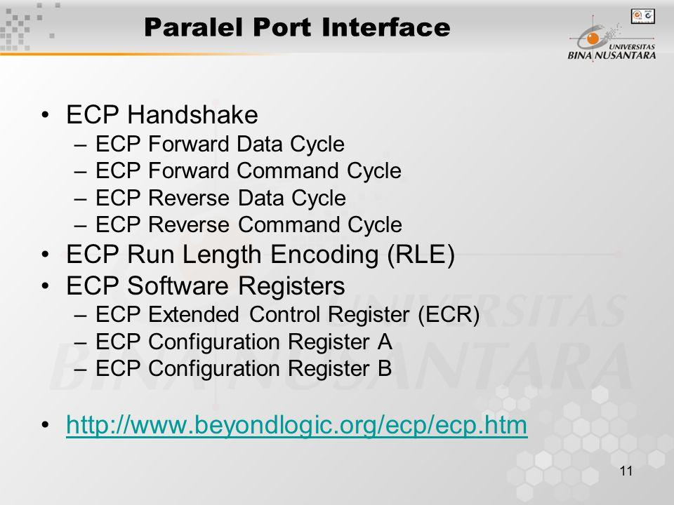 11 Paralel Port Interface ECP Handshake –ECP Forward Data Cycle –ECP Forward Command Cycle –ECP Reverse Data Cycle –ECP Reverse Command Cycle ECP Run