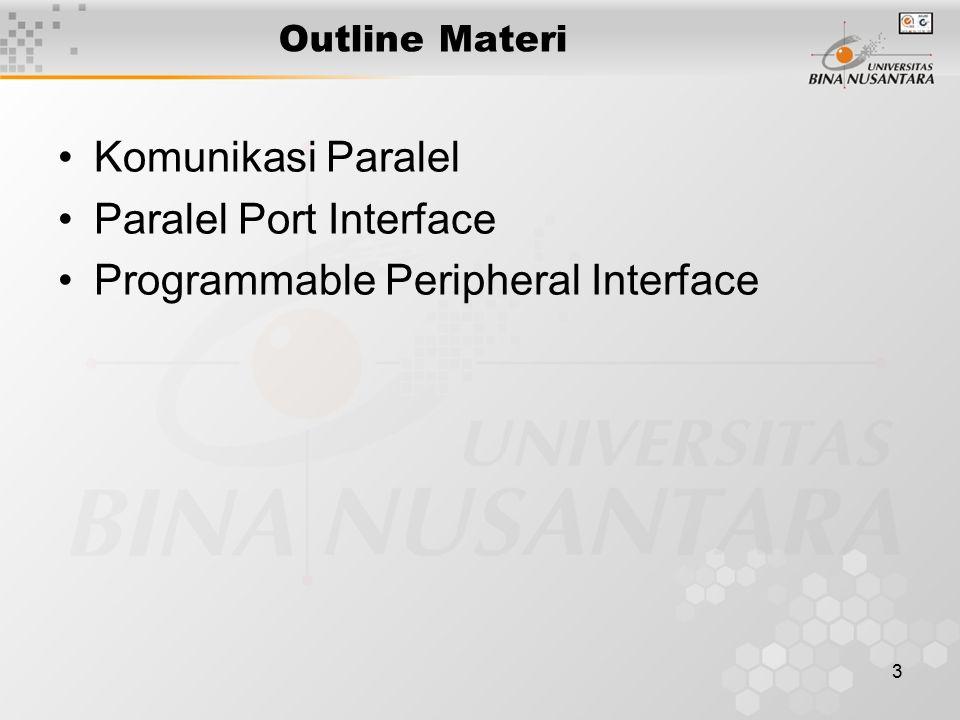 3 Outline Materi Komunikasi Paralel Paralel Port Interface Programmable Peripheral Interface