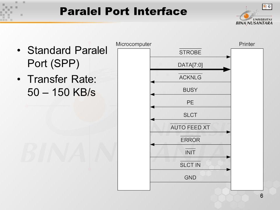 7 Paralel Port Interface SPP Centronics Handshake SPP Port Address SPP Software Registers