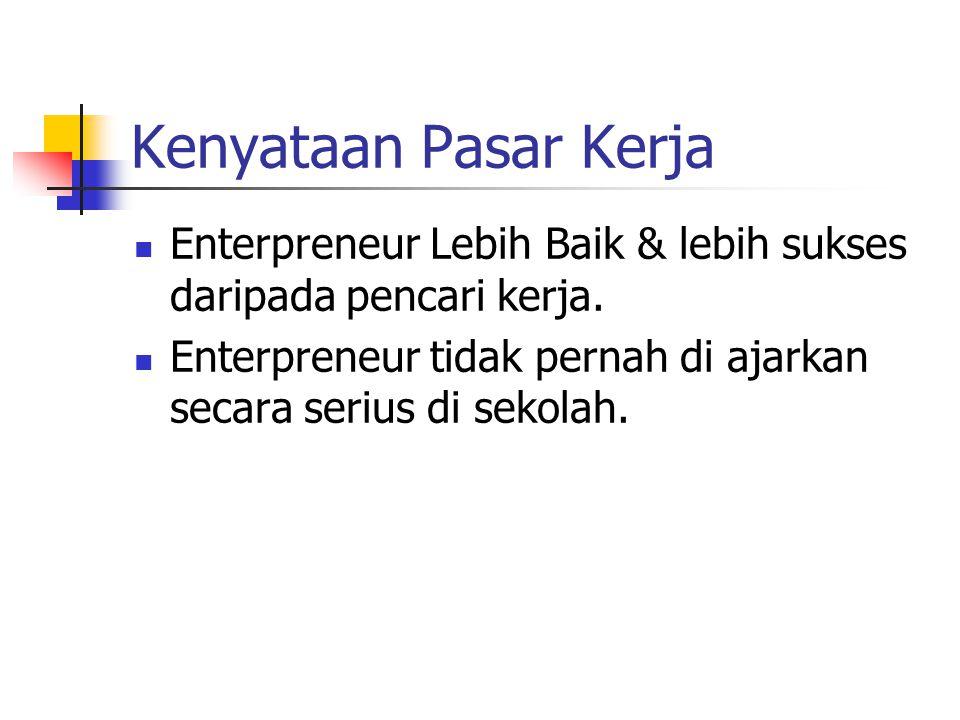 Kenyataan Pasar Kerja Enterpreneur Lebih Baik & lebih sukses daripada pencari kerja.