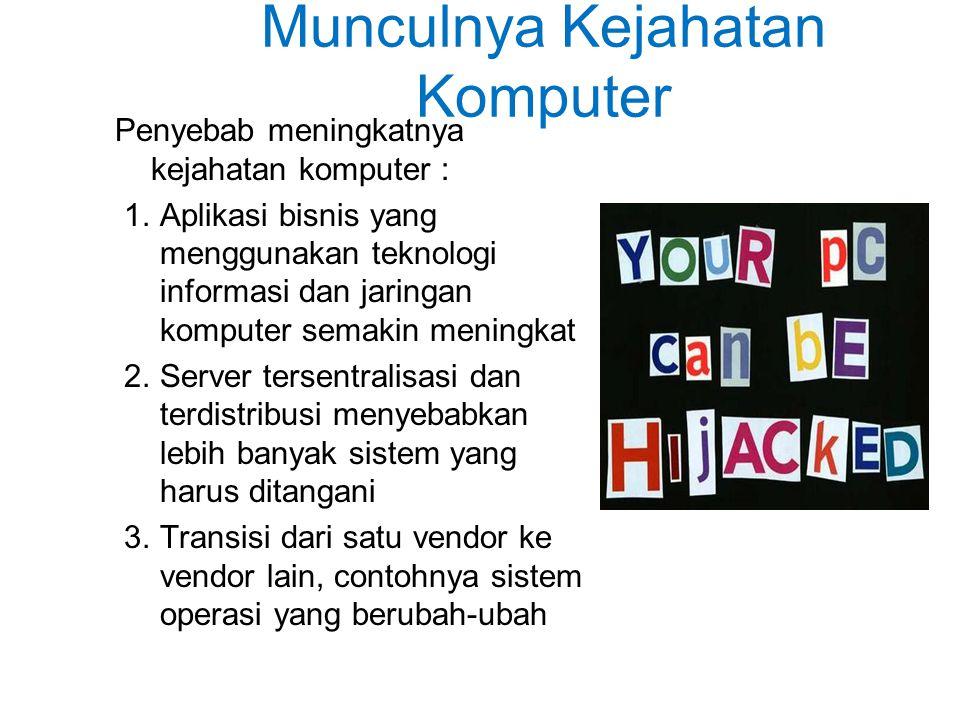 Munculnya Kejahatan Komputer Penyebab meningkatnya kejahatan komputer : 1.Aplikasi bisnis yang menggunakan teknologi informasi dan jaringan komputer semakin meningkat 2.Server tersentralisasi dan terdistribusi menyebabkan lebih banyak sistem yang harus ditangani 3.Transisi dari satu vendor ke vendor lain, contohnya sistem operasi yang berubah-ubah