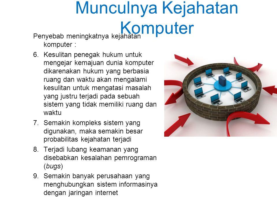 Munculnya Kejahatan Komputer Penyebab meningkatnya kejahatan komputer : 6.Kesulitan penegak hukum untuk mengejar kemajuan dunia komputer dikarenakan hukum yang berbasia ruang dan waktu akan mengalami kesulitan untuk mengatasi masalah yang justru terjadi pada sebuah sistem yang tidak memiliki ruang dan waktu 7.Semakin kompleks sistem yang digunakan, maka semakin besar probabilitas kejahatan terjadi 8.Terjadi lubang keamanan yang disebabkan kesalahan pemrograman (bugs) 9.Semakin banyak perusahaan yang menghubungkan sistem informasinya dengan jaringan internet