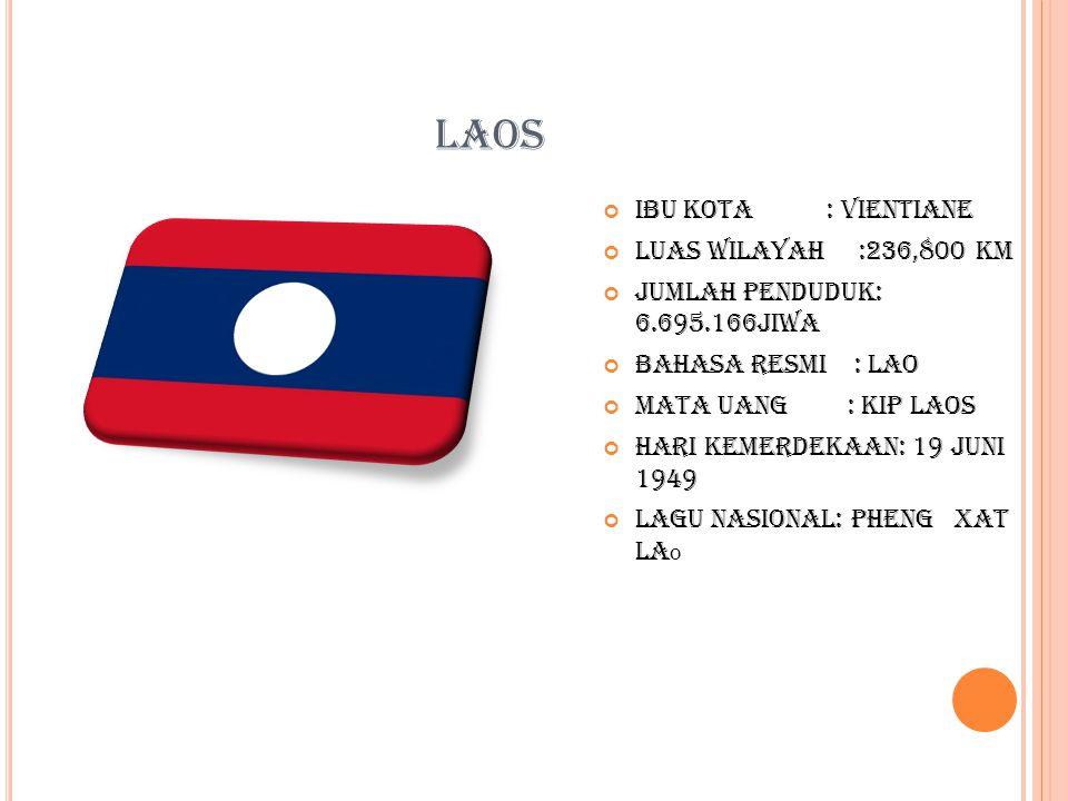 LAOS Ibu kota : vientiane Luas wilayah :236,800 km Jumlah penduduk: 6.695.166jiwa Bahasa resmi : lao Mata uang : kip laos Hari kemerdekaan: 19 juni 1949 Lagu nasional: pheng xat la o