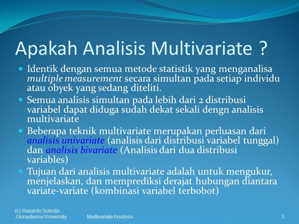 Jenis Teknik Multivariate 1.Principal Componen Analysis (PCA) 2.