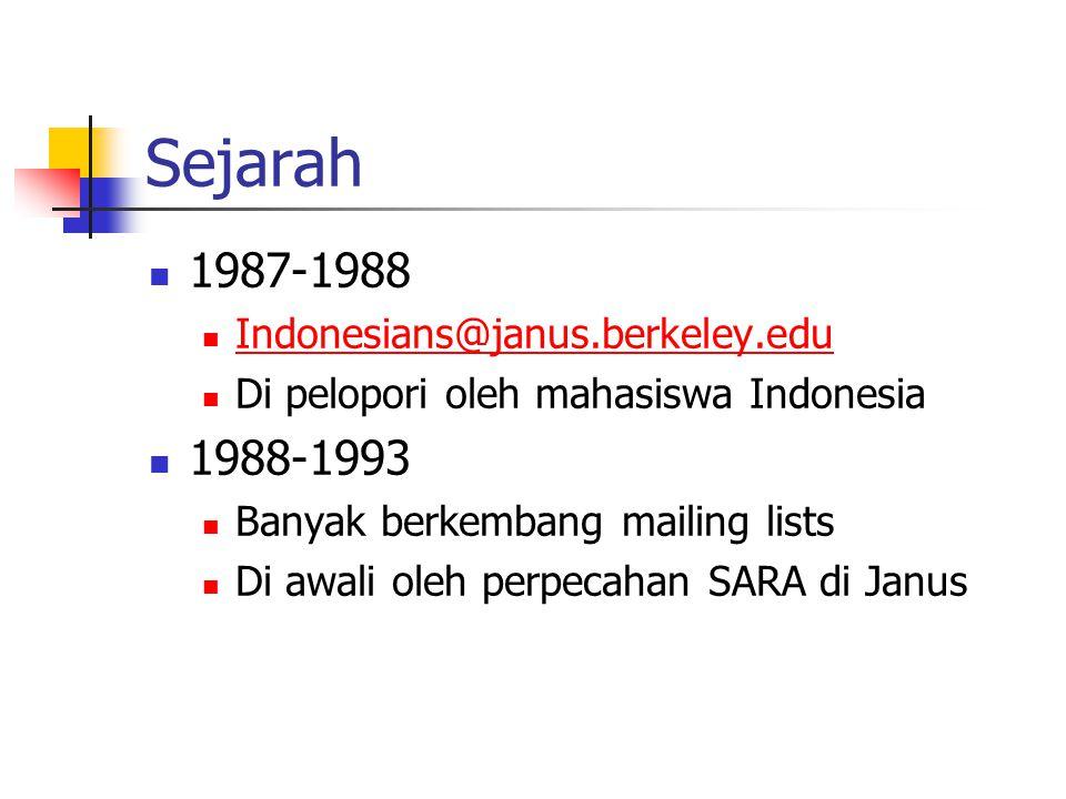 Sejarah 1987-1988 Indonesians@janus.berkeley.edu Di pelopori oleh mahasiswa Indonesia 1988-1993 Banyak berkembang mailing lists Di awali oleh perpecahan SARA di Janus