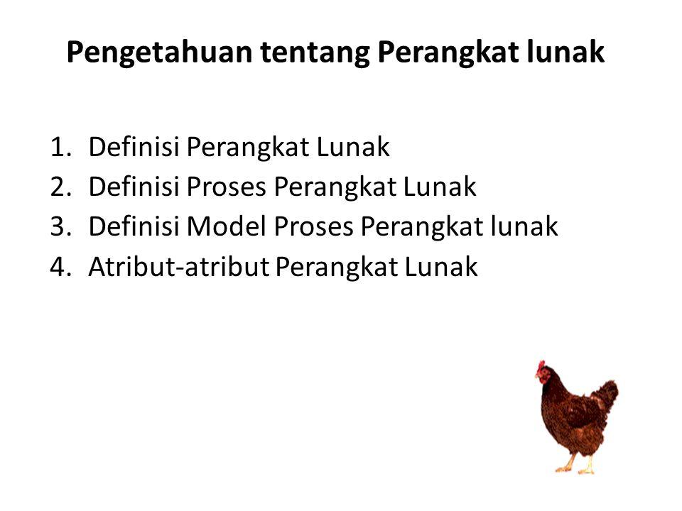 Pengetahuan tentang Perangkat lunak 1.Definisi Perangkat Lunak 2.Definisi Proses Perangkat Lunak 3.Definisi Model Proses Perangkat lunak 4.Atribut-atr