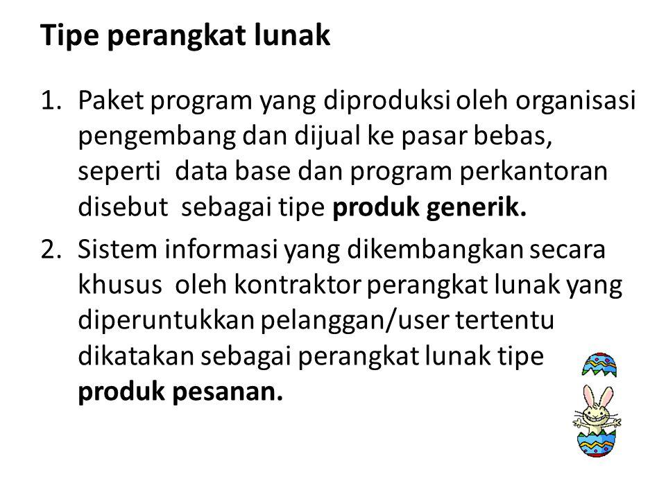 Tipe perangkat lunak 1.Paket program yang diproduksi oleh organisasi pengembang dan dijual ke pasar bebas, seperti data base dan program perkantoran d