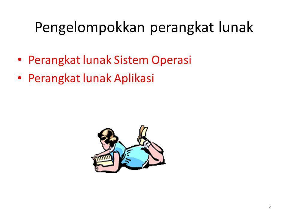 5 Pengelompokkan perangkat lunak Perangkat lunak Sistem Operasi Perangkat lunak Aplikasi
