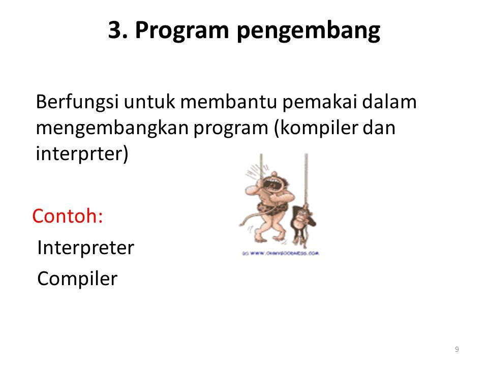 9 3. Program pengembang Berfungsi untuk membantu pemakai dalam mengembangkan program (kompiler dan interprter) Contoh: Interpreter Compiler