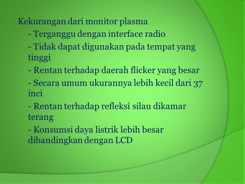 d.Monitor OLED (Organic Light-Emitting Diode) Monitor OLED (Organic Light-Emitting Diode) atau dioda cahaya organik adalah sebuah semikonduktor yang berfungsi sebagai pemancar cahaya yang terbuat dari lapisan organik.