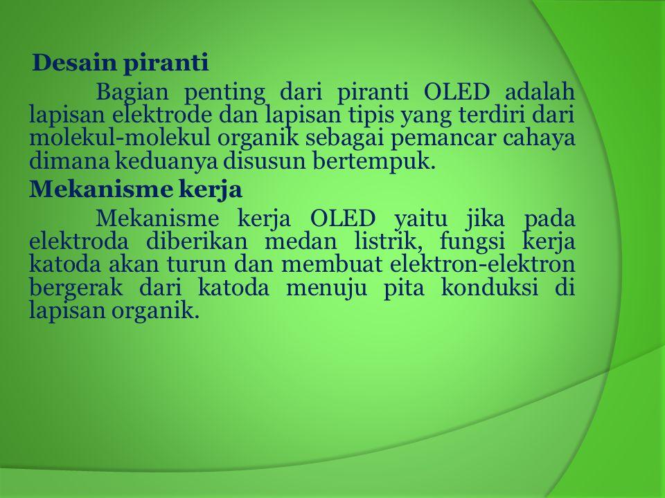 Aplikasi Pengembangan teknologi OLED di Indonesia tepat dengan realitas yang ada yaitu pengembangan teknologi yang disesuaikan dengan kemampuan anggaran yang terbatas dengan upaya memperoleh hasil yang optimal.