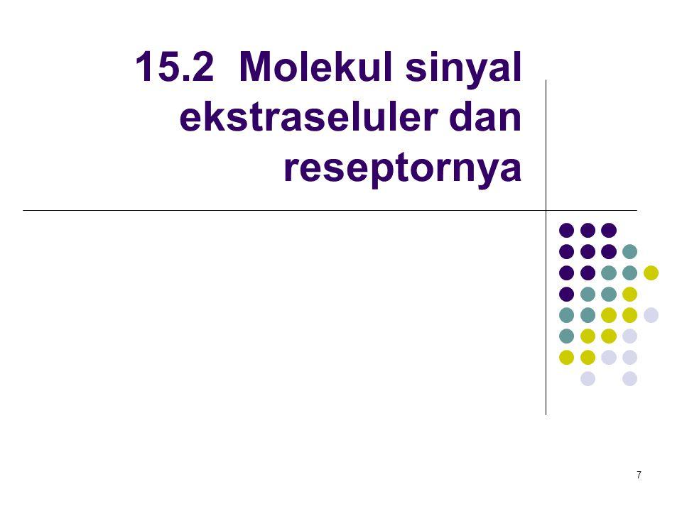 8 Macam-macam molekul sinyal Eicosanoid Berasal dari asam lemak arachidonic acid (C20) Polipeptida dan protein Asam amino atau derivat asam amino Gas: NO, CO Steroid Berasal dari kolesterol Figure 15-13 Molecular Biology of the Cell (© Garland Science 2008)