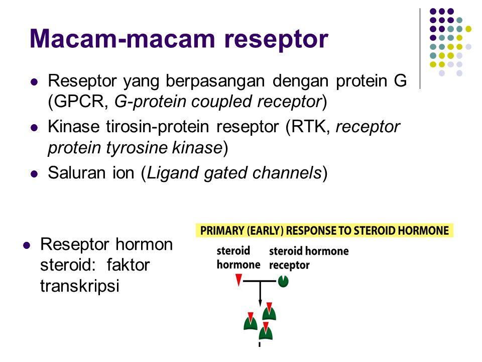 9 Macam-macam reseptor Reseptor yang berpasangan dengan protein G (GPCR, G-protein coupled receptor) Kinase tirosin-protein reseptor (RTK, receptor pr