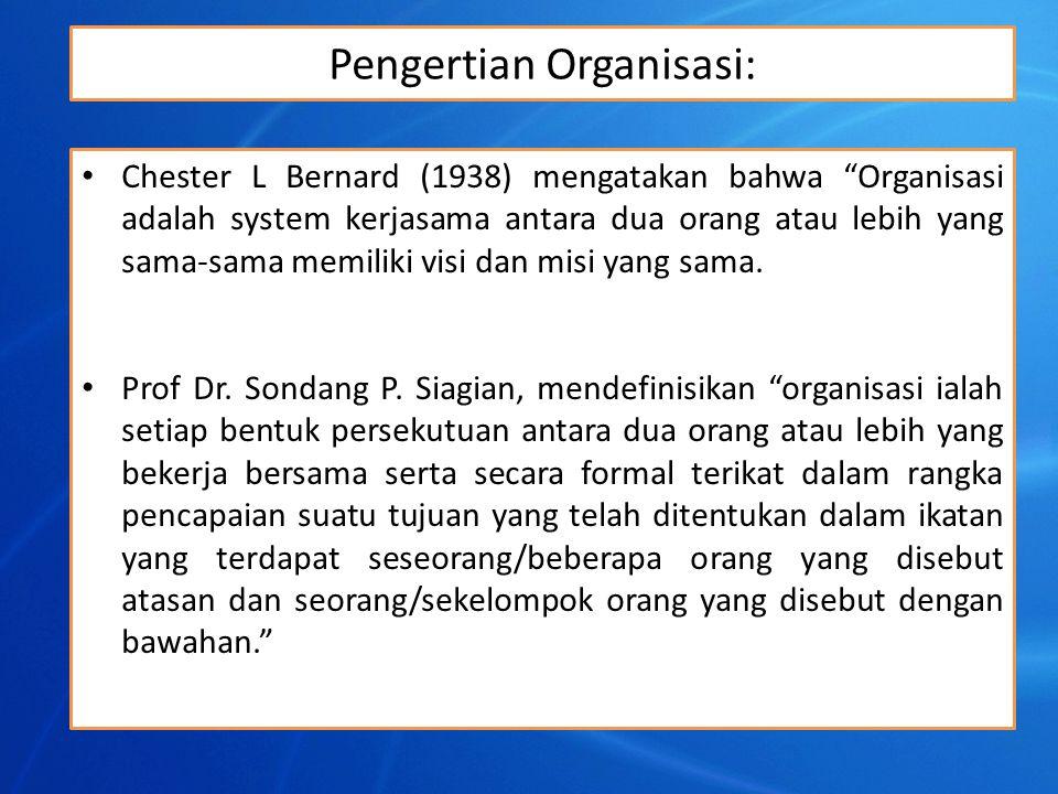 """Pengertian Organisasi: Chester L Bernard (1938) mengatakan bahwa """"Organisasi adalah system kerjasama antara dua orang atau lebih yang sama-sama memili"""