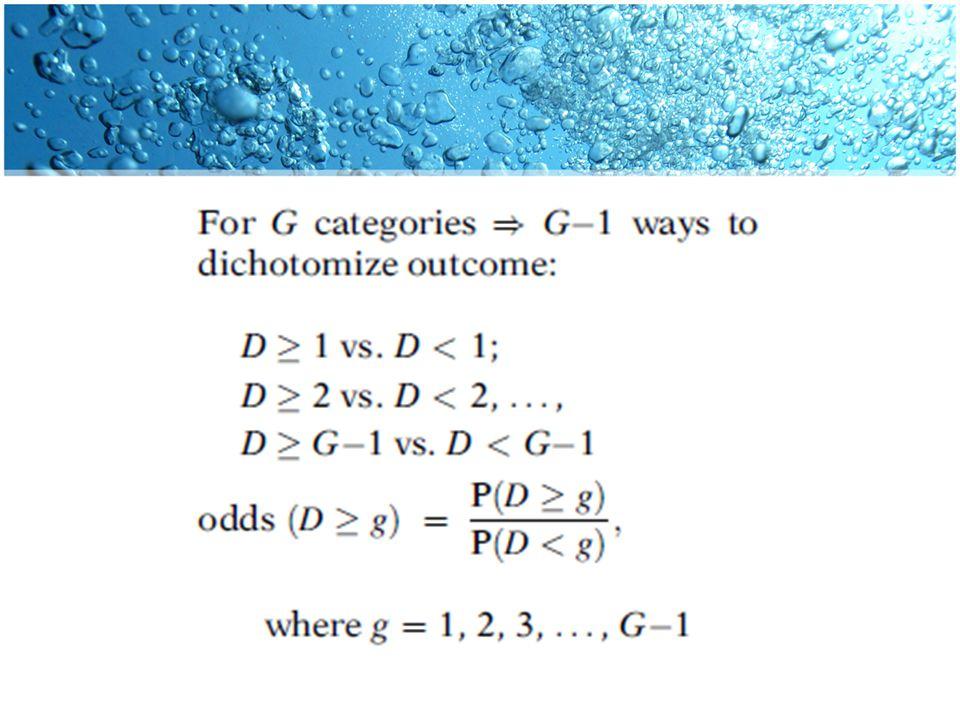 Asumsi Dalam model ini, odds rasio menilai efek dari variabel prediktor untuk perbandingan ini akan menjadi sama terlepas dari mana cut-point dibuat.