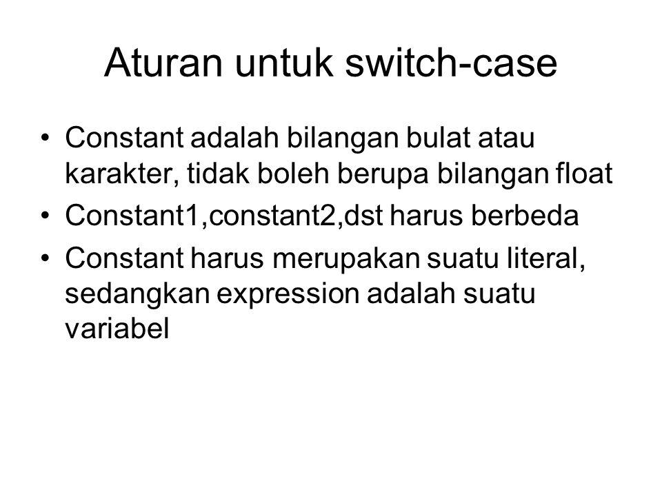 Aturan untuk switch-case Constant adalah bilangan bulat atau karakter, tidak boleh berupa bilangan float Constant1,constant2,dst harus berbeda Constan