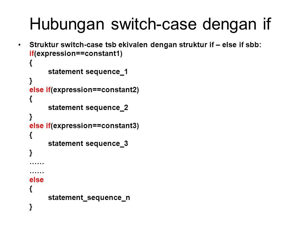 Aturan untuk switch-case Constant adalah bilangan bulat atau karakter, tidak boleh berupa bilangan float Constant1,constant2,dst harus berbeda Constant harus merupakan suatu literal, sedangkan expression adalah suatu variabel