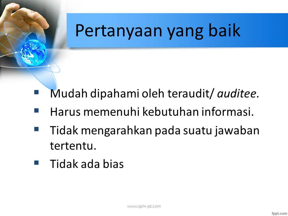 Pertanyaan yang baik  Mudah dipahami oleh teraudit/ auditee.