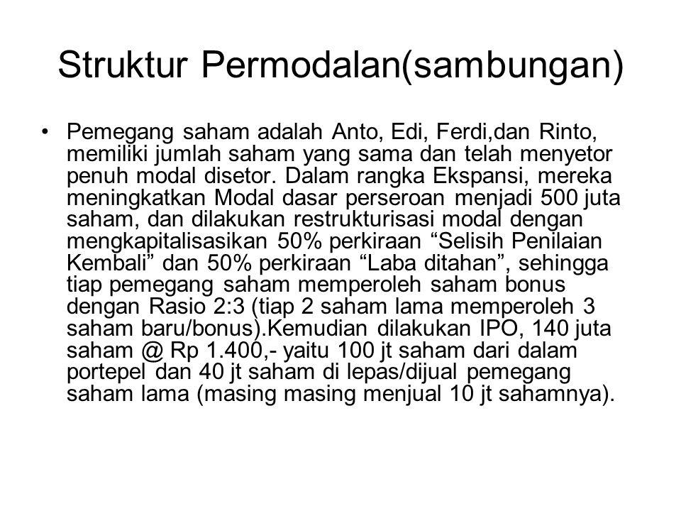 Struktur Permodalan(sambungan) Pemegang saham adalah Anto, Edi, Ferdi,dan Rinto, memiliki jumlah saham yang sama dan telah menyetor penuh modal diseto