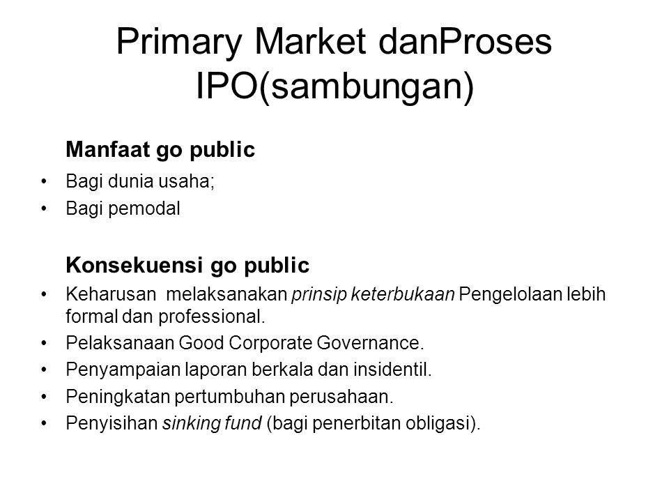 Primary Market danProses IPO(sambungan) Manfaat go public Bagi dunia usaha; Bagi pemodal Konsekuensi go public Keharusan melaksanakan prinsip keterbuk