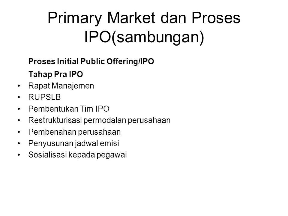 Primary Market dan Proses IPO(sambungan) Proses Initial Public Offering/IPO Tahap Pra IPO Rapat Manajemen RUPSLB Pembentukan Tim IPO Restrukturisasi p