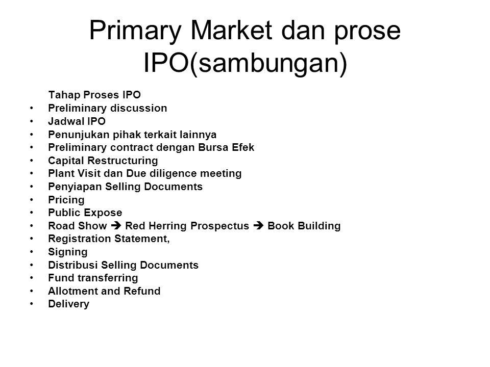 Primary Market dan prose IPO(sambungan) Tahap Proses IPO Preliminary discussion Jadwal IPO Penunjukan pihak terkait lainnya Preliminary contract denga
