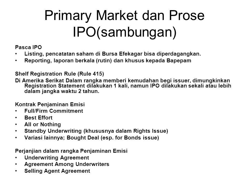 Primary Market dan Prose IPO(sambungan) Pasca IPO Listing, pencatatan saham di Bursa Efekagar bisa diperdagangkan. Reporting, laporan berkala (rutin)