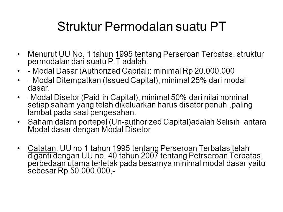 Struktur Permodalan suatu PT Menurut UU No. 1 tahun 1995 tentang Perseroan Terbatas, struktur permodalan dari suatu P.T adalah: - Modal Dasar (Authori