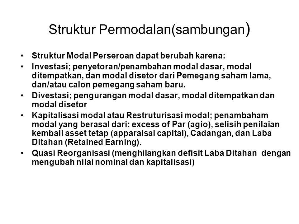 Struktur Permodalan(sambungan ) Struktur Modal Perseroan dapat berubah karena: Investasi; penyetoran/penambahan modal dasar, modal ditempatkan, dan mo