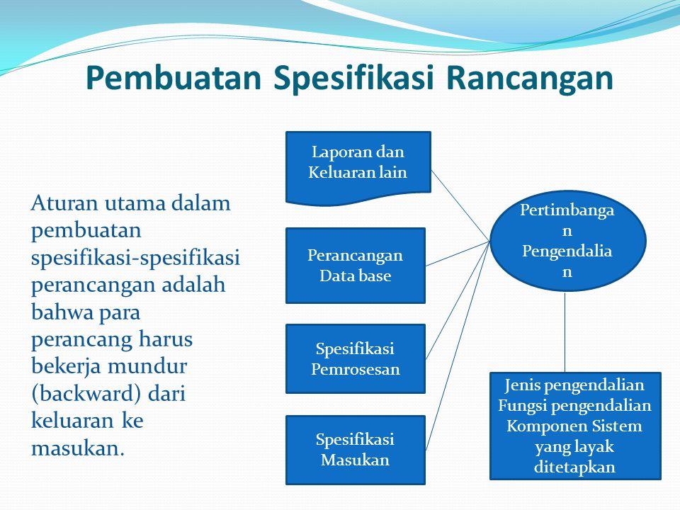 Pembuatan Spesifikasi Rancangan Aturan utama dalam pembuatan spesifikasi-spesifikasi perancangan adalah bahwa para perancang harus bekerja mundur (bac