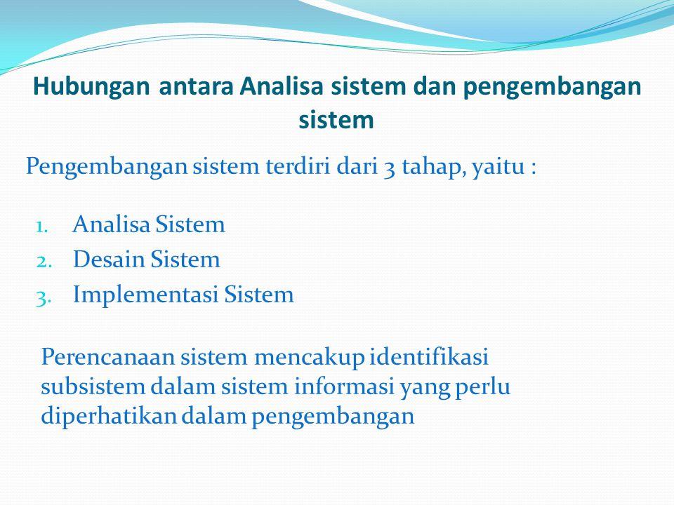 Hubungan antara Analisa sistem dan pengembangan sistem Pengembangan sistem terdiri dari 3 tahap, yaitu : 1. Analisa Sistem 2. Desain Sistem 3. Impleme