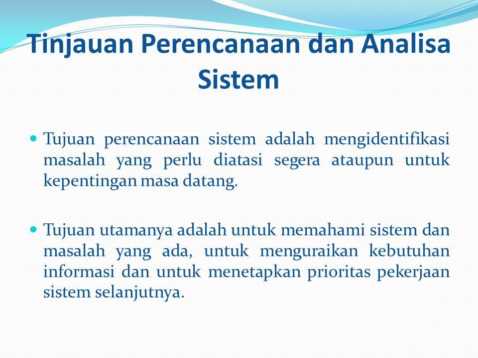 Tinjauan Perencanaan dan Analisa Sistem Tujuan perencanaan sistem adalah mengidentifikasi masalah yang perlu diatasi segera ataupun untuk kepentingan masa datang.