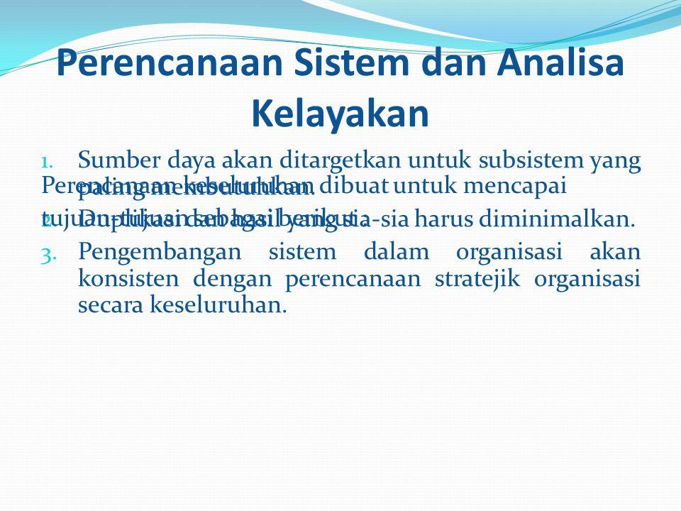 Perencanaan Sistem dan Analisa Kelayakan 1. Sumber daya akan ditargetkan untuk subsistem yang paling membutuhkan. 2. Duplikasi dan hasil yang sia-sia