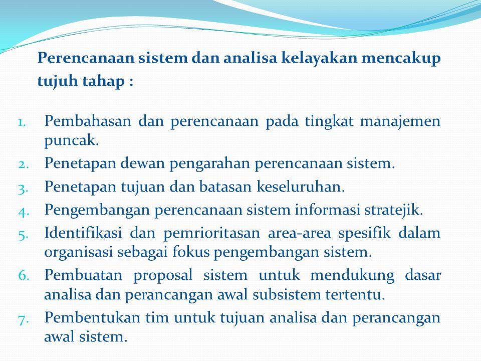 1. Pembahasan dan perencanaan pada tingkat manajemen puncak. 2. Penetapan dewan pengarahan perencanaan sistem. 3. Penetapan tujuan dan batasan keselur
