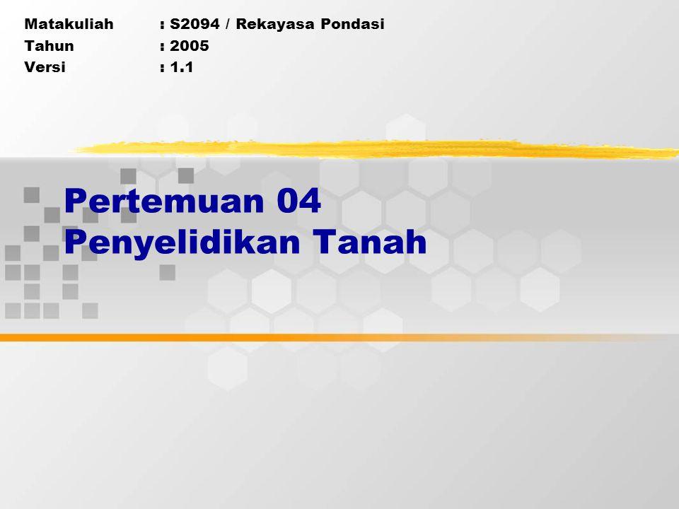 Matakuliah: S2094 / Rekayasa Pondasi Tahun: 2005 Versi: 1.1 Pertemuan 04 Penyelidikan Tanah
