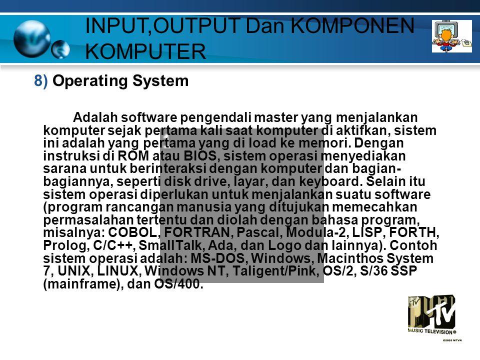 8) Operating System Adalah software pengendali master yang menjalankan komputer sejak pertama kali saat komputer di aktifkan, sistem ini adalah yang pertama yang di load ke memori.