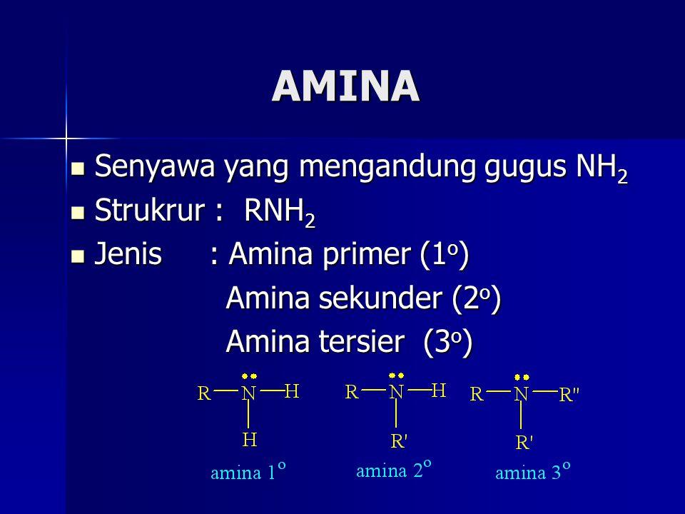 AMINA Senyawa yang mengandung gugus NH 2 Senyawa yang mengandung gugus NH 2 Strukrur : RNH 2 Strukrur : RNH 2 Jenis : Amina primer (1 o ) Jenis : Amin
