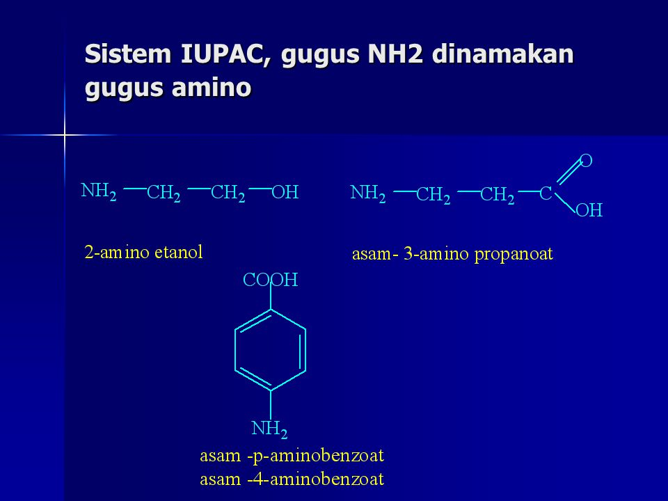 Sistem IUPAC, gugus NH2 dinamakan gugus amino