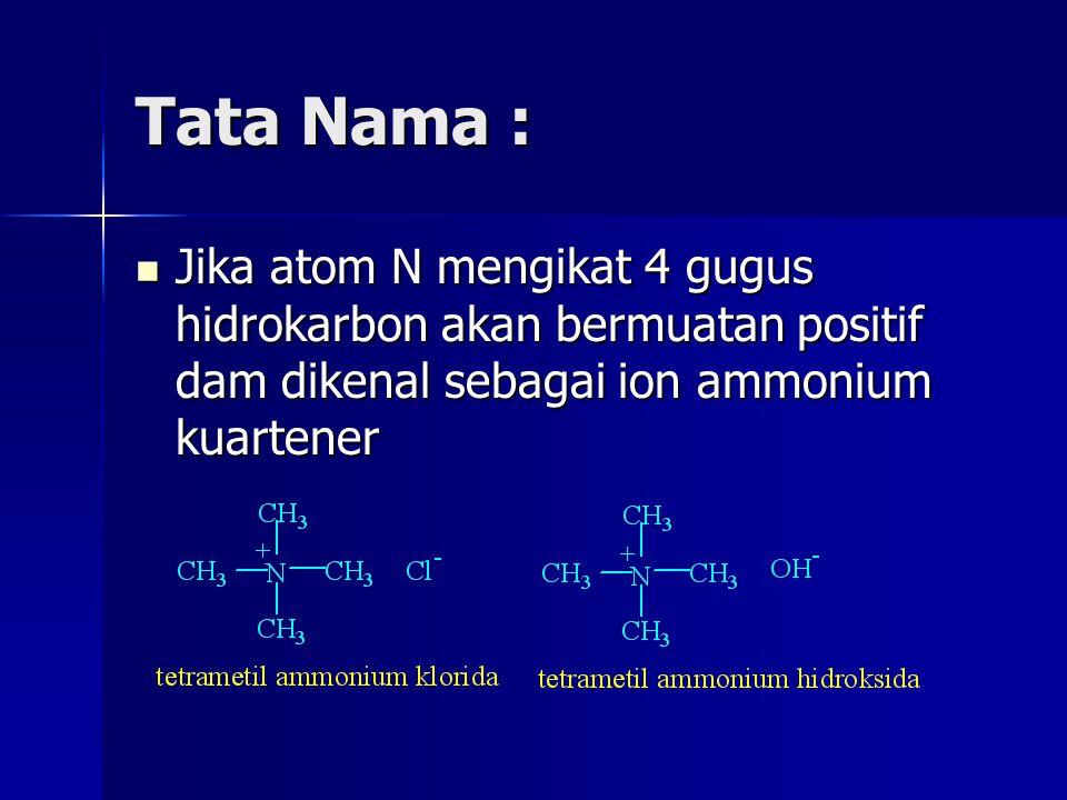 Tata Nama : Jika atom N mengikat 4 gugus hidrokarbon akan bermuatan positif dam dikenal sebagai ion ammonium kuartener Jika atom N mengikat 4 gugus hi